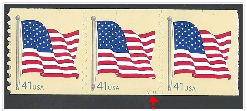 U.S. 2007. Scott.N°4188, PNC3 #V11111. MNH (**) FLAG. Serpentine Die Cut 8½ Vertically - Etats-Unis