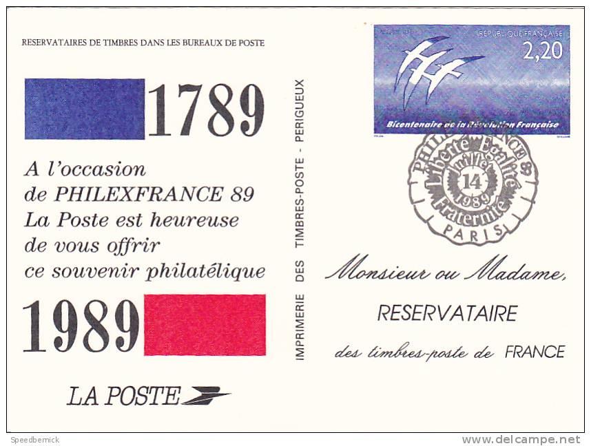 21819 Souvenir Philatelique, 2.2 Bicentenaire  Republique Franciase 1789, 14 Juillet Folon - Timbres