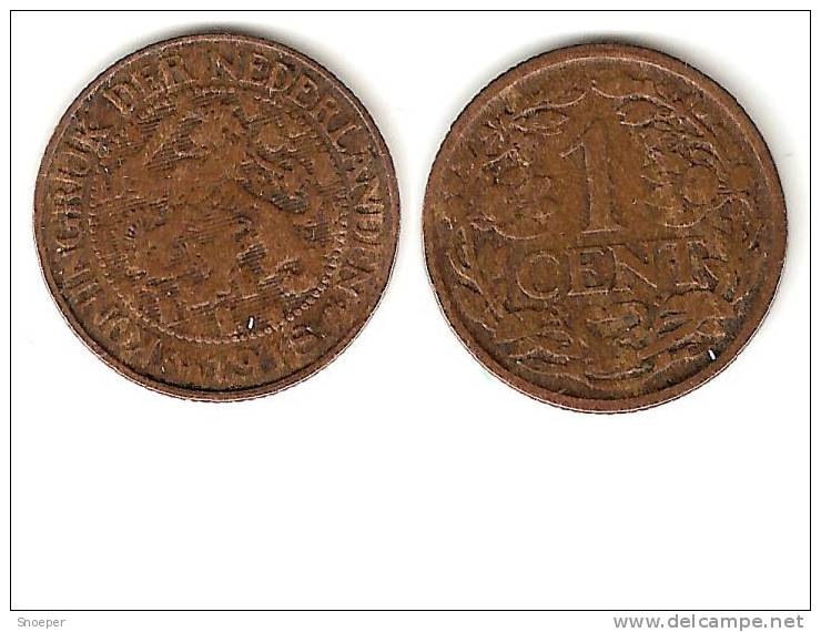 *netherlands  1 Cent 1918 Km 152   Vf+ - [ 3] 1815-… : Koninkrijk Der Nederlanden