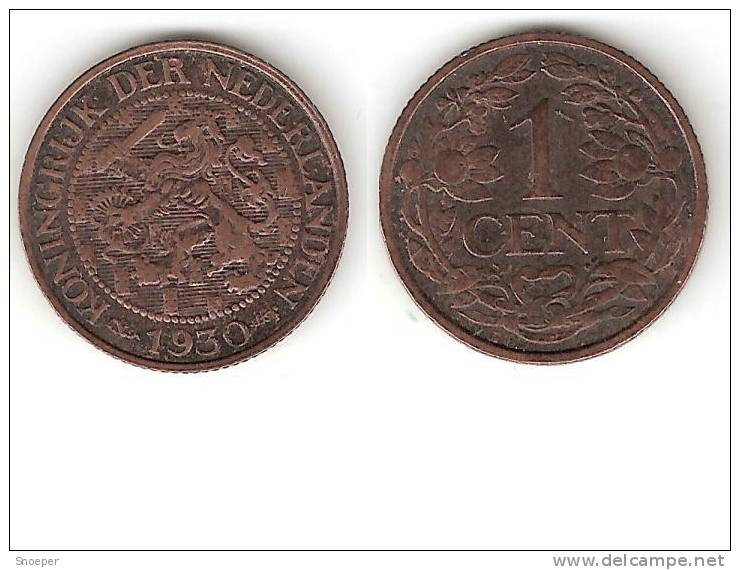 Netherlands  1 Cent 1930 Km 152   Xf+   !!! - [ 3] 1815-… : Royaume Des Pays-Bas