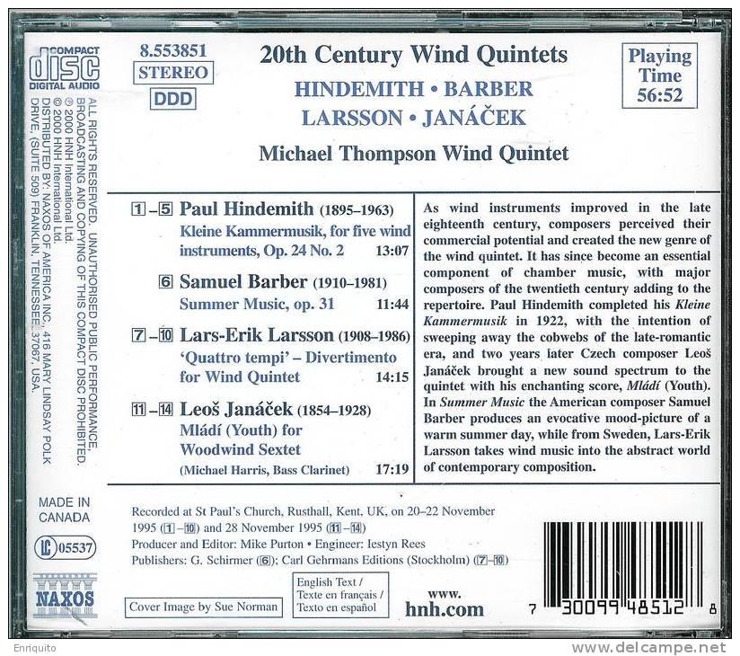MICHAEL  THOMPSON  WIND  QUINTET  *  20th CENTURY WIND QUINTETS* - Classical