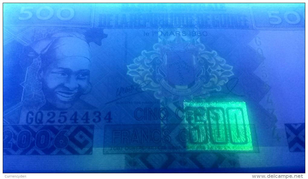 Guinea P39, 500 Francs, Girl In Scarf, Drum / Diamond Mining $3+CV5CV - Guinea