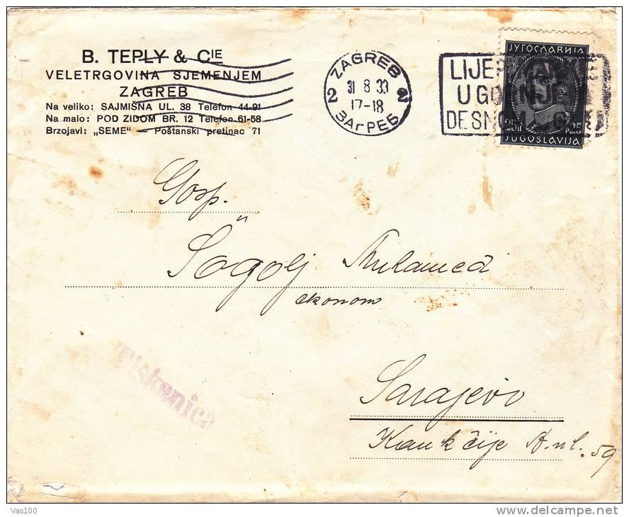 B.TEPLY & C´IE,VELETRGOVINA SJEMENJEM,ZAGREB 1933 COVER SENT TO MAIL,Yougoslavie. - 1931-1941 Kingdom Of Yugoslavia