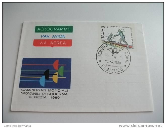 Aerogramme Via Aerea Par Avion  Campionati Mondiali Giovanili Di Scherma Venezia 1980 - 1971-80: Storia Postale