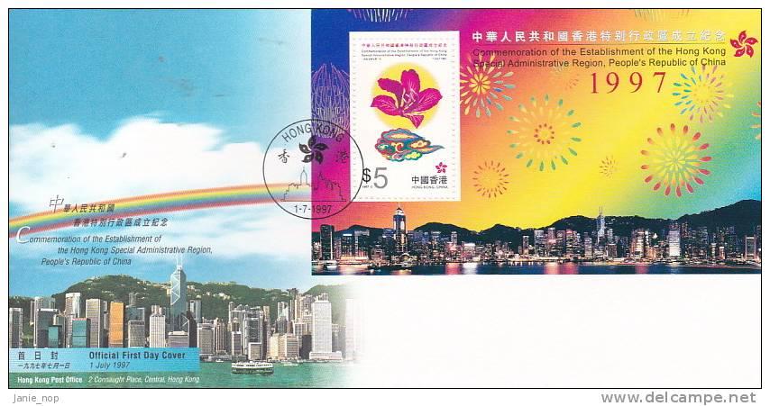 Hong Kong 1997 Establishement Of The Hong Kong Special Administrative Region MS  FDC - 1997-... Région Administrative Chinoise