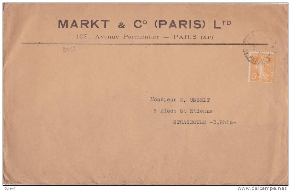 9353# Y&T N° 158 SEMEUSE PERFORE M.C. MARKT & C° PERFIN /LETTRE Obl PARIS AV. PARMENTIER 1924 STRASBOURG BAS RHIN ALSACE - France