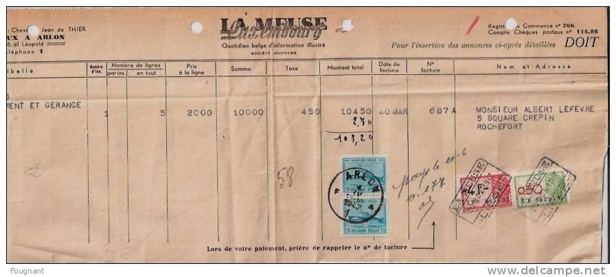 BELGIQUE : 1947:Facture LA MEUSE Luxembourg:pour Mr Lefevre,ROCHEFORT.Timbres725.oblit ARLON. - Canada