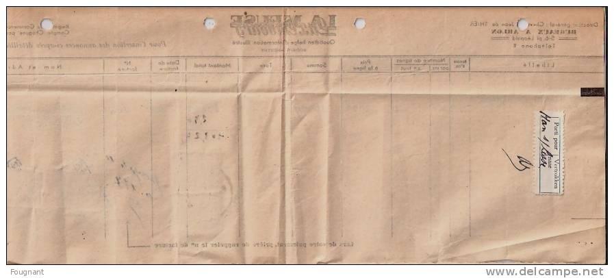 BELGIQUE : 1947:Facture LA MEUSE Luxembourg:pour Mr Lefevre,ROCHEFORT.Timbres725.oblit ARLON. - Kanada