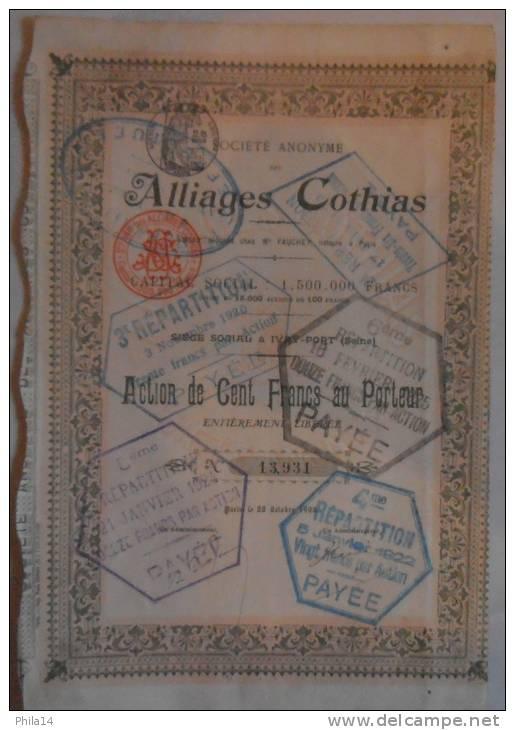 ACTION 100 FRANCS AU PORTEUR N° 13931 / ALLIAGES COTHIAS IVRY PORT / 1908 / NOMBREUX CACHETS - Banque & Assurance