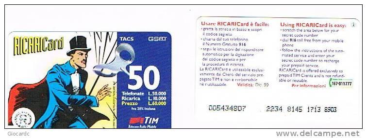 TIM ITALIA - RICARICAT (10^ EDIZ) 1004 - MANDRAKE (2) SC.DIC.99 (OCR 18, STRISCIA IN BASSO ) - USATA RIF.CP - Italia
