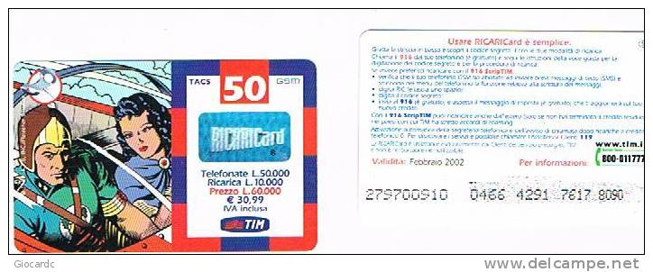 TIM ITALIA - RICARICAT (10^ ED.) 1142A - GORDON E DALE IN NAVETTA  (16P) SC. FEBBR. 2002 (OCR 22, PIN 42) - USATA RIF.CP - Italia