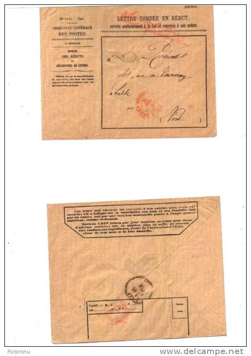 LETTRE TOMBEE EN REBUT DIRECTION GENERALE DES POSTES CACHET POSTAL 1890 ? - Documents Of Postal Services