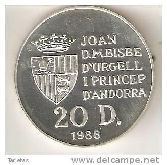 MONEDA DE PLATA DE ANDORRA DE 20 DINERS AÑO 1990 DE LAS OLIMPIADAS DE BARCELONA 1992 (AROS) SILVER-ARGENT - Andorra