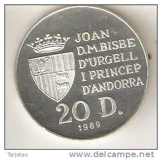 MONEDA DE PLATA DE ANDORRA DE 20 DINERS AÑO 1989 DE LAS OLIMPIADAS DE BARCELONA 1992 (PIRAGÜISMO) SILVER-ARGENT - Andorra