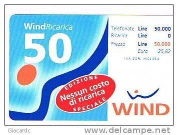 WIND ITALIA - C.&C.(10^ ED.) 1005 -  NESSUN COSTO 50  SCAD. 30/06/2001    - USATA - Italia