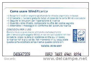 WIND ITALIA - C.&C.(10^ ED.) 1005 -  NESSUN COSTO 50  SCAD. 30/06/2001    - USATA - Schede GSM, Prepagate & Ricariche