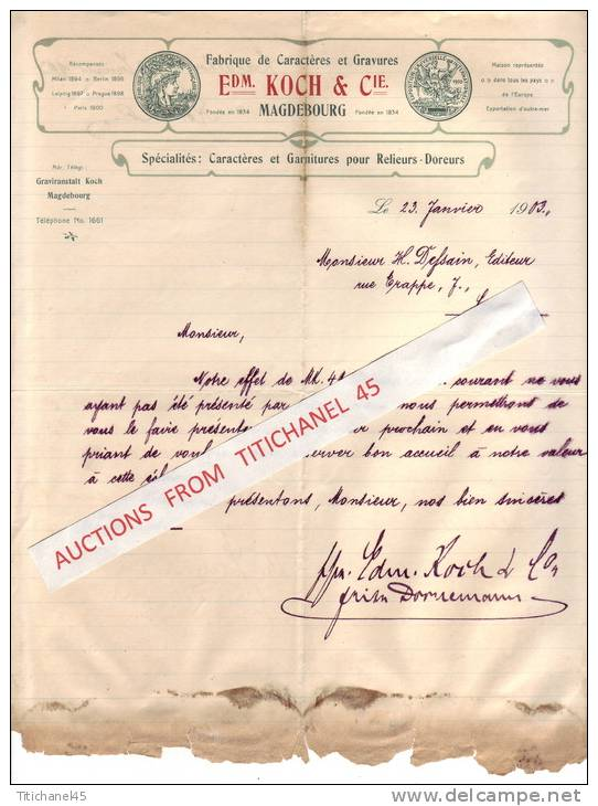 Brief 1903 - MAGDEBURG - Edm. KOCH & Cie - Schriftgisserei - Fonderie De Caractères Et Gravures - Imprimerie & Papeterie
