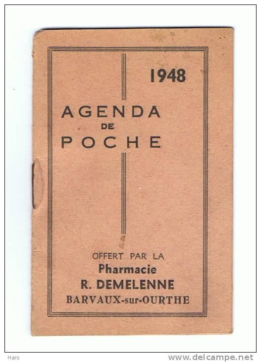 Calendrier Avec Agenda De Poche 1948 - Pharmacie R. Demelenne à Barvaux-surOurthe - Calendriers