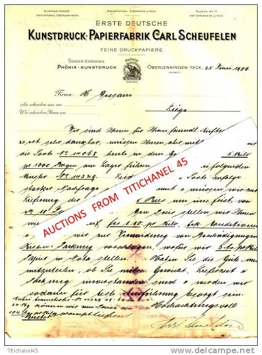Brief 1900 - OBERLENNINGEN-TECK - CARL SCHEUFELEN - Kunstdruck-papierfabrik - Imprimerie & Papeterie