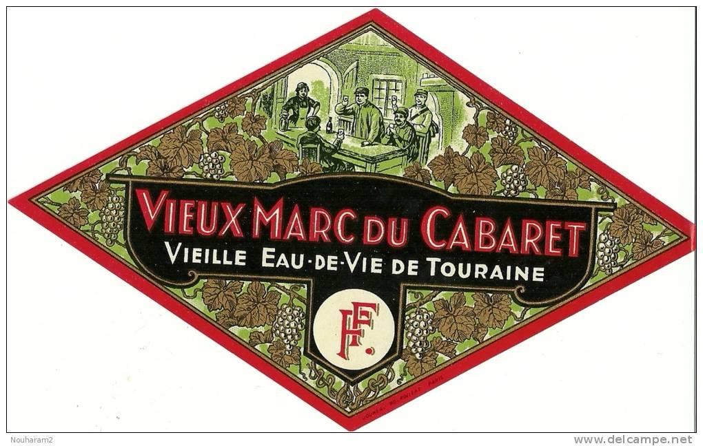 Etiquette Bouteille Ref 002. Vieille Eau-de-vie De Touraine - Vieux Marc Du Cabaret - Autres Bouteilles