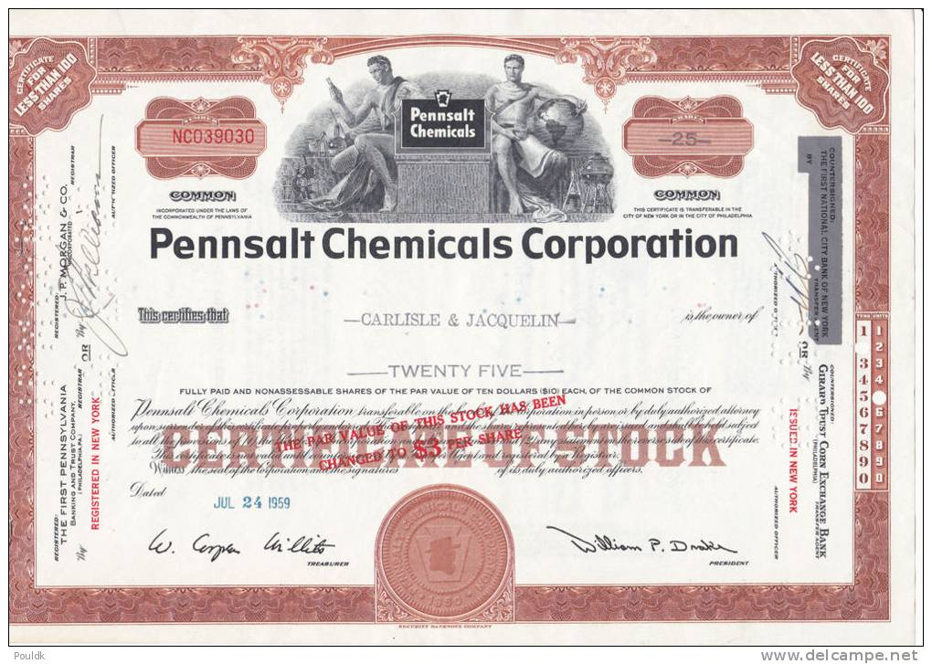 Bonds/Shares:1959 Pennsalt Chemicals Corporation, Value: Shares 25 (A 330a) - Industrie