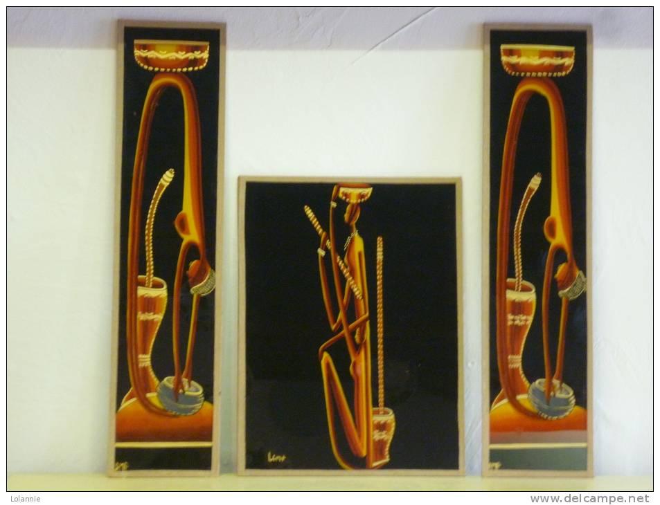 """LOT De 3 PEINTURES AFRICAINES Origine Du NIGER Signés"""" LAMP """"( Voir Descriptif Et  3 Photos ) - African Art"""