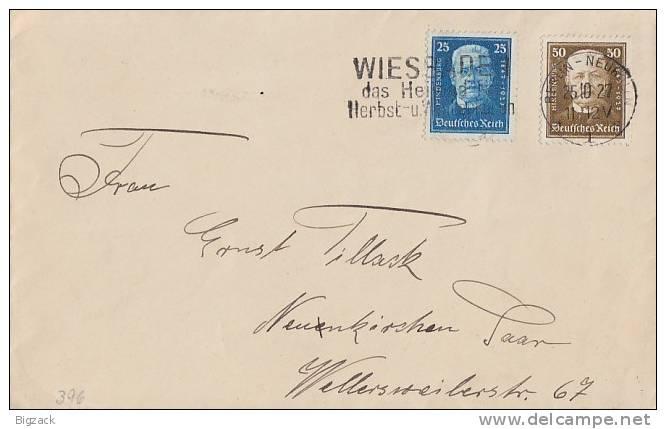 DR Brief Mif Minr.405,406 Berlin-Neukölln 25.10.27 - Briefe U. Dokumente