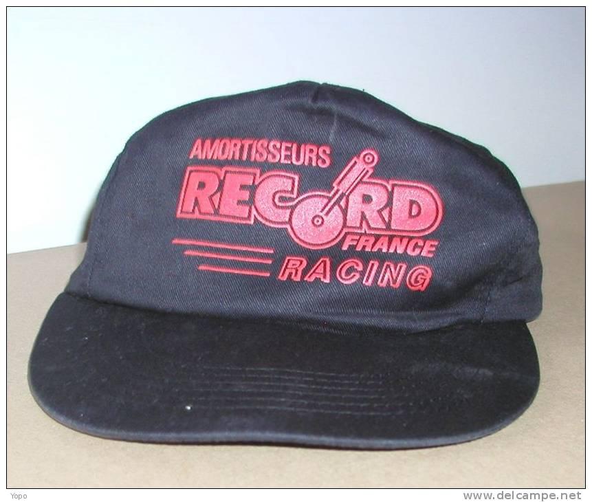 Casquette Publicitaire Noire Et Rouge, Amortisseurs RECORD Racing, Avec Bride De Réglage Scratch - Caps