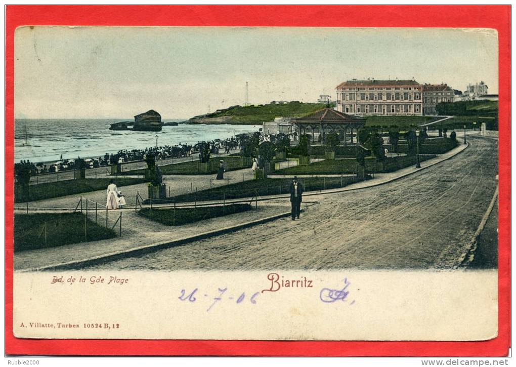 BIARRITZ 1906 BOULEVARD DE LA GRANDE PLAGE CARTE COLORISEE EN BON ETAT - Biarritz