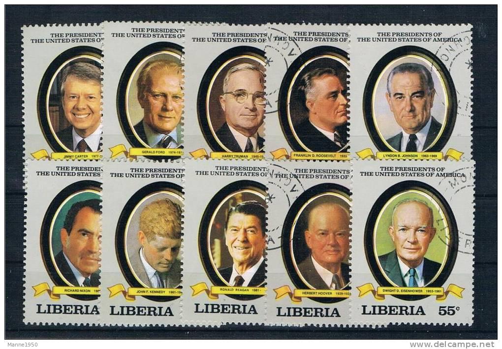 Liberia 1982 Präsidenten Mi.Nr. 1252/61 Kpl. Satz Gest. - Liberia