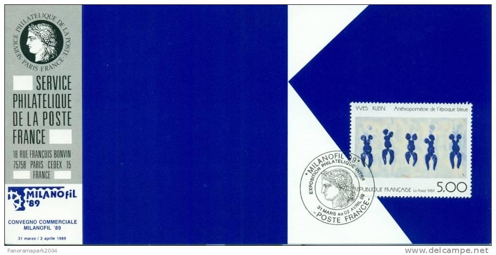 054 Carte Officielle Exposition Internationale Exhibition Milanofil 1989 France FDC Arts Tableau Yves Klein Abstrait - Esposizioni Filateliche
