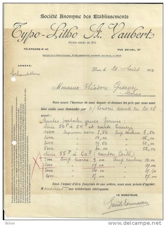 DOUR S A Des ETABLISSEMENTS TYPO LITHO A. VAUBERT  21.08.1912 - Belgique