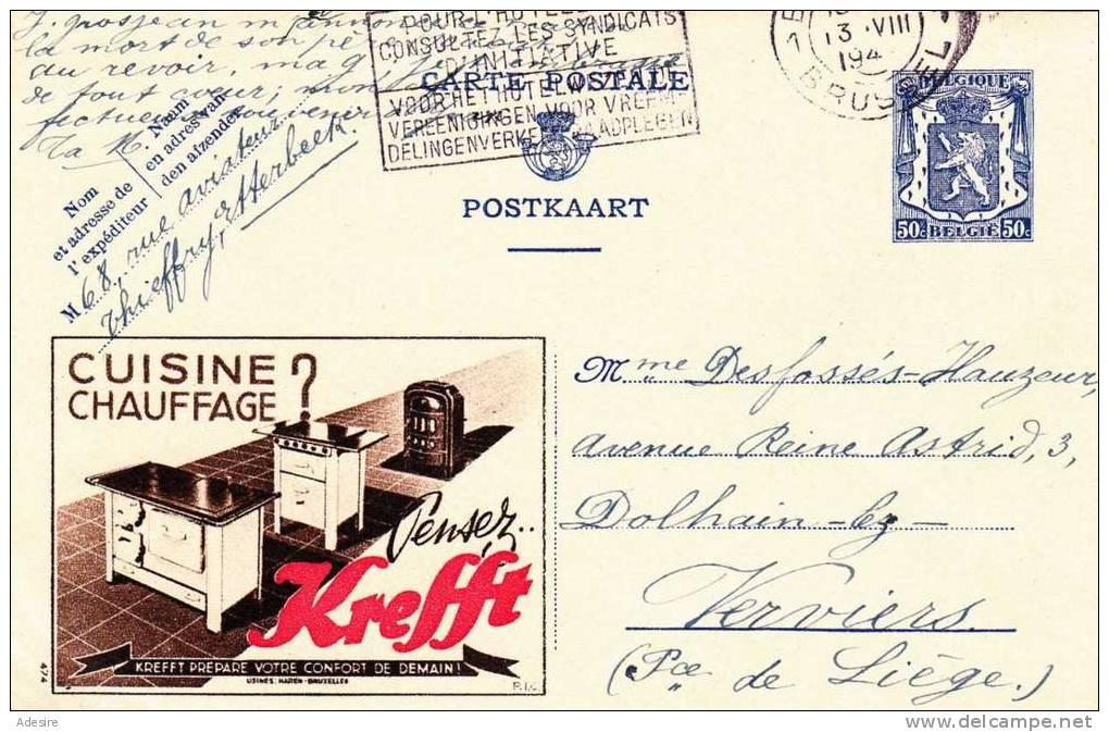 """Belgien 1942, 50C Ganzsache Auf Schöner Werbekarte """"KREFFT"""" - Enteros Postales"""