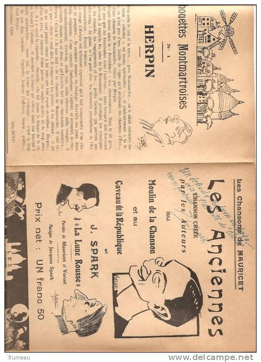 PARIS  SPARK MAURICET HERPIN LES CHANSONS DE MONMARTRE-DEDICACE - 1919 - Autogramme