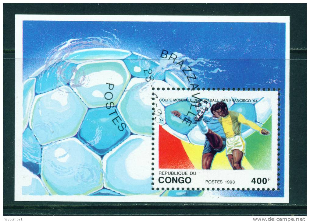 CONGO (BRAZZAVILLE) - 1993 Football World Cup Miniature Sheet 400f Used As Scan - Used