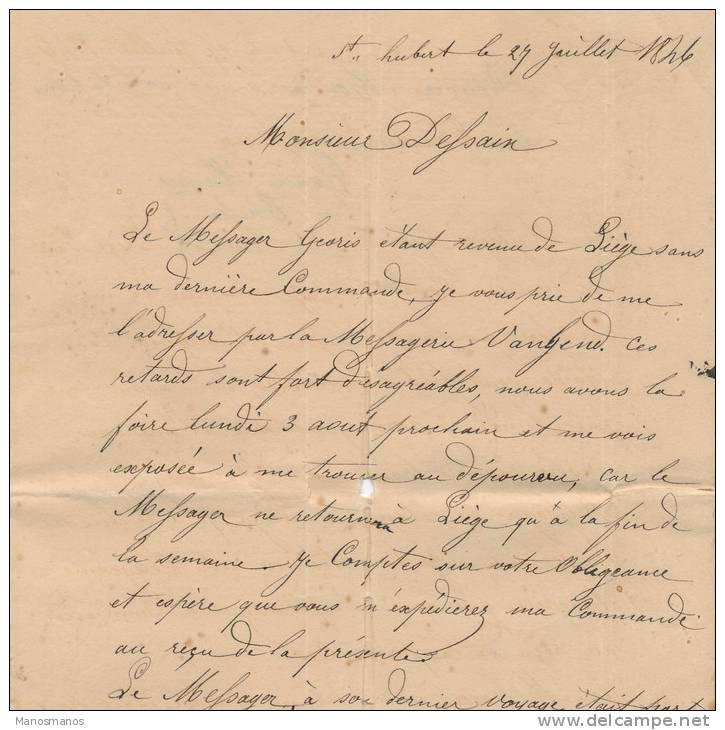 617/20 - Lettre Précurseur 1846 ST HUBERT Vers LIEGE - Signée Henry - Toussaint - 1830-1849 (Belgique Indépendante)