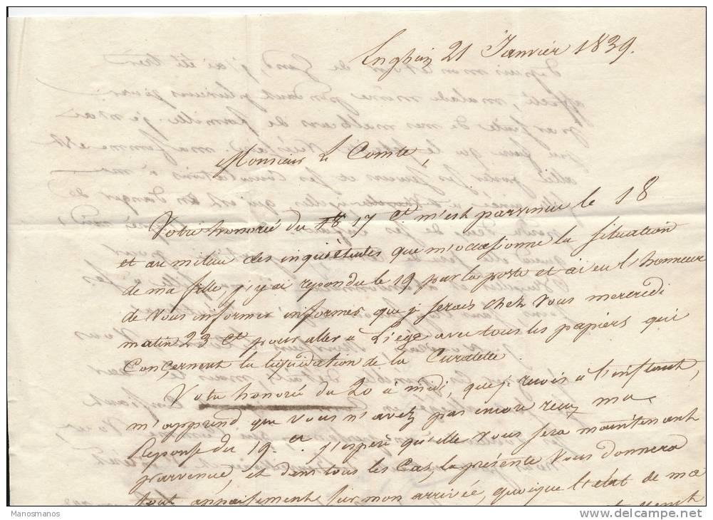 618/20 - Lettre Précurseur 1839 ENGHIEN Vers BRUXELLES - Griffe APRES LE DEPART - 1830-1849 (Belgique Indépendante)