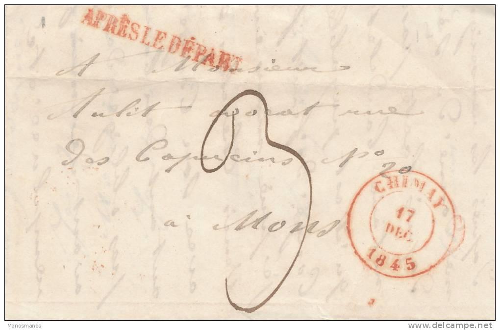 620/20 - Lettre Précurseur 1845 CHIMAY Vers MONS - Griffe APRES LE DEPART - Signée Lagnaux - 1830-1849 (Belgique Indépendante)