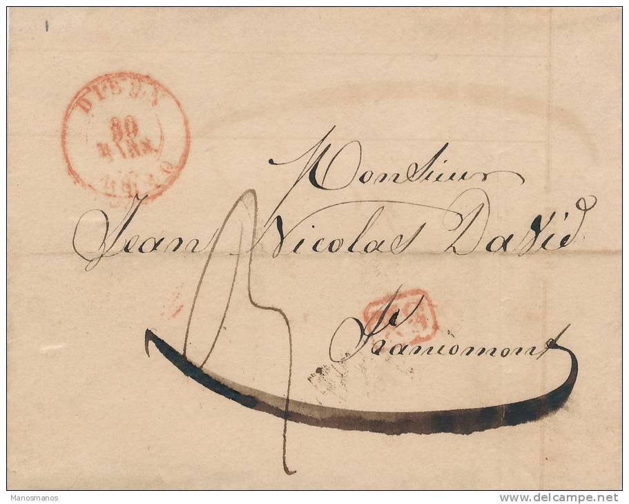 622/20 - Lettre Précurseur 1840 DISON Vers FRANCOMONT - Griffe SR En Rouge - Signée Linné Fils - 1830-1849 (Belgique Indépendante)