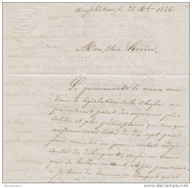 624/20 - Lettre Précurseur 1846 NEUFCHATEAU Vers TELLIN - Type 18 WELLIN Via ST HUBERT - RARE Mention Taxe Rectifiée - 1830-1849 (Belgique Indépendante)