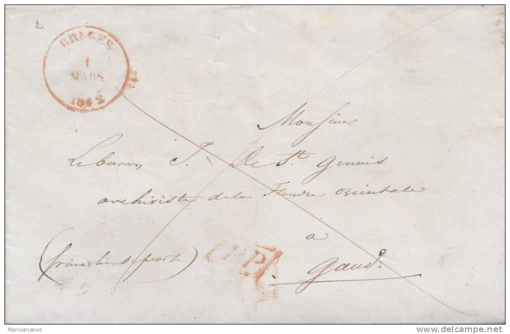 628/20 - Lettre Précurseur 1842 BRUGES PP Franco Vers GAND - 1830-1849 (Belgique Indépendante)