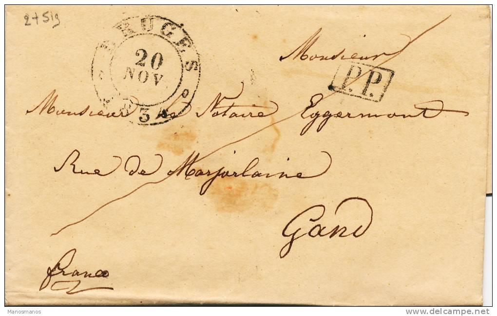 629/20 - Lettre Précurseur 1834 BRUGES PP Franco Vers GAND - Signée La Douairière Rooman De Genellis - 1830-1849 (Belgique Indépendante)