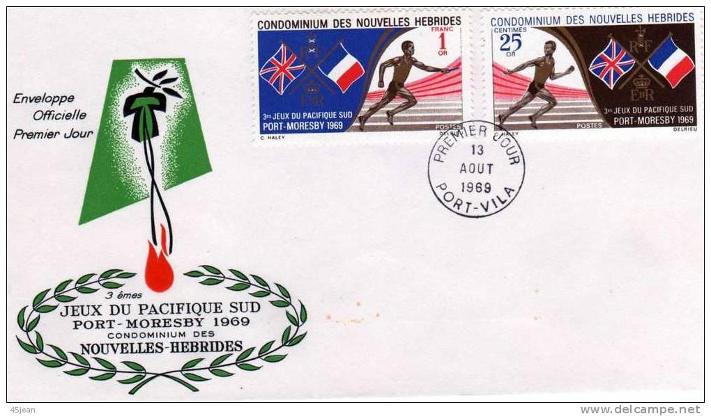 Nouvelles Hébrides: 1969 Belle Fdc Série 3emes Jeux Du Pacifique Sud - FDC