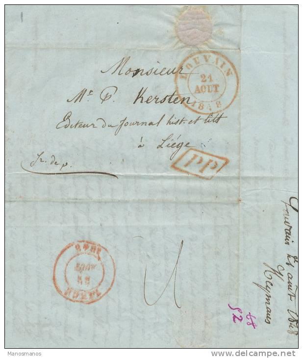 636/20 - Lettre Précurseur 1848 LOUVAIN PP Franco Vers LIEGE - Signé Heymans - 1830-1849 (Belgique Indépendante)