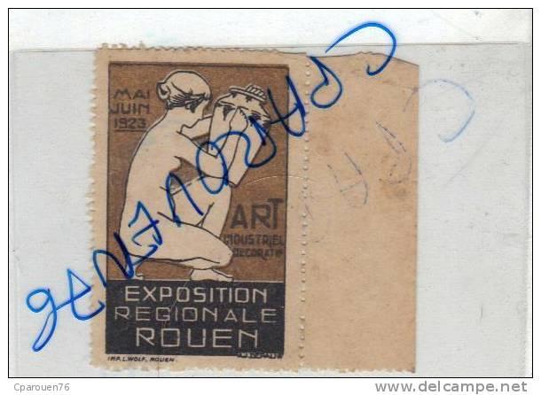 Timbre Vignette Exposition Régionale Rouen Mai Juin 1923 Art Industrile Décoratif - Ohne Zuordnung
