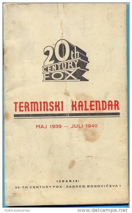 Kingdom YU. Croatia.The 20th Centuri Fox Forward Calendar 1939/1940. (16,5cmX10,2cm.) - Calendars