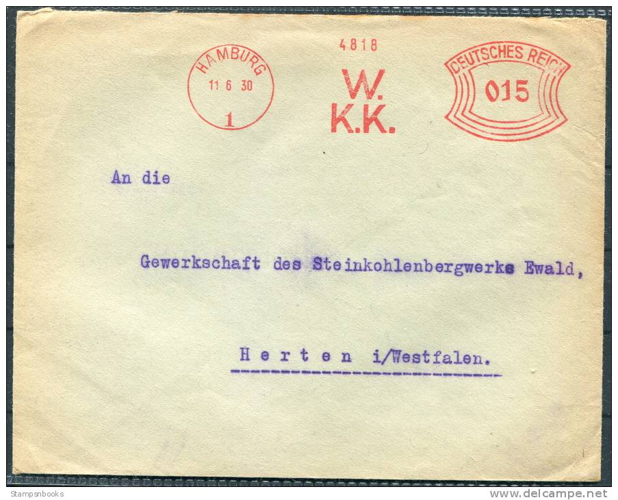 1930 Germany Hamburg Westfalisches Kohlen-Kontor Freistempel Briefe - Deutschland