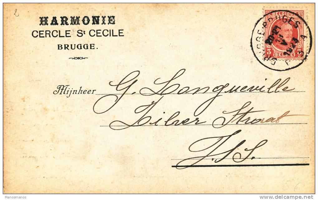 651/20 - Carte Privée IMPRIME TP Houyoux BRUGGE 1923 - Entete Harmonie Ste Cécile MUSIQUE - 1922-1927 Houyoux