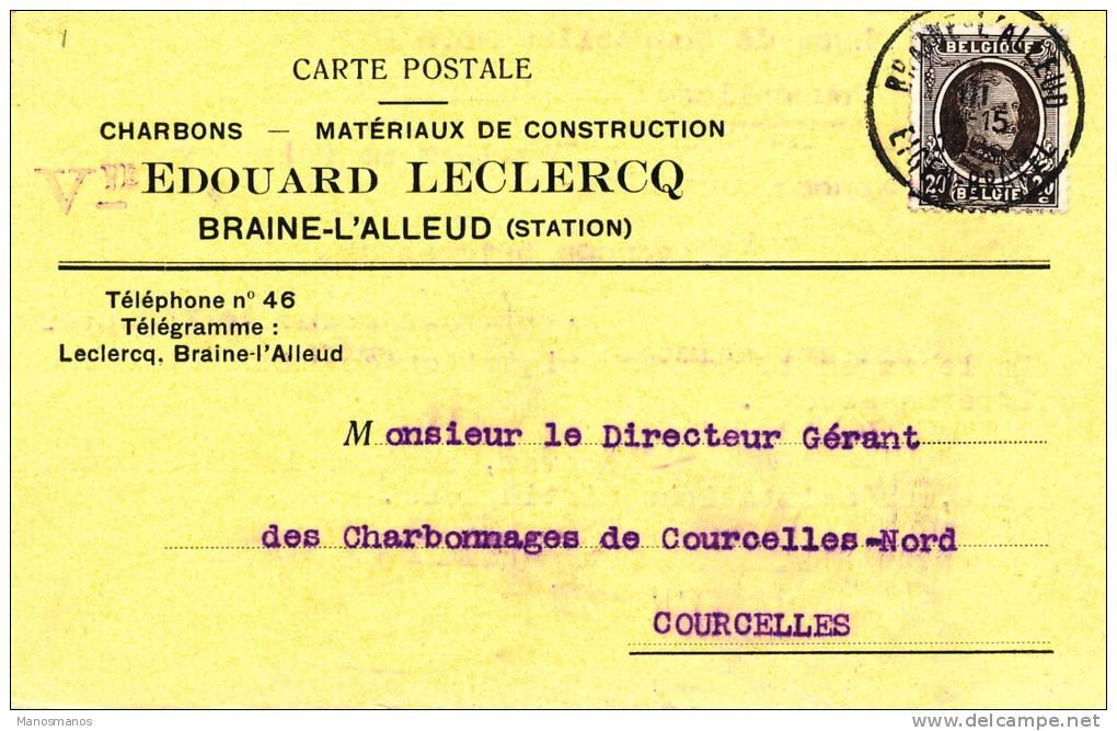 652/20 - Carte Privée TP Houyoux BRAINE L'ALLEUD 1926 - Entete Charbons Et Matériaux Vve Edouard Leclercq - 1922-1927 Houyoux