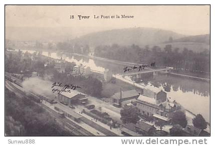 Yvoir - Le Pont Et La Meuse (vue Sur La Gare, Train, Animation, Feldpost 1914) - Yvoir